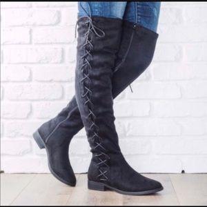KRYSTEN Black Suede OTK Boots!
